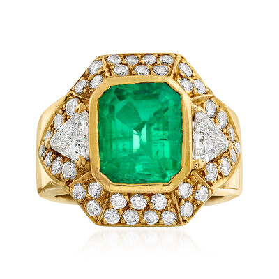 C. 1990 Vintage 3.35 ct. t.w. Emerald and 2.00 ct. t.w. Diamond Ring in 18kt Yellow Gold, , default