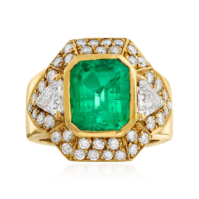 C. 1990 Vintage 3.35 ct. t.w. Emerald and 2.00 ct. t.w. Diamond Ring in 18kt Yellow Gold
