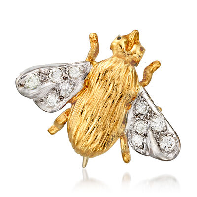 C. 1970 Vintage .25 ct. t.w. Diamond Bee Pin in 14kt Two-Tone Gold