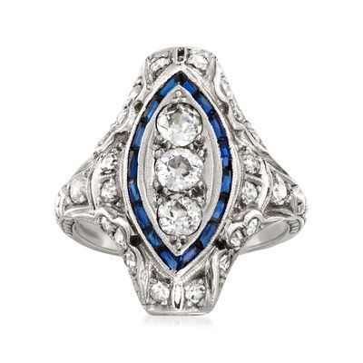C. 1950 Vintage 1.00 ct. t.w. Diamond and .25 ct. t.w. Simulated Sapphire Ring in Platinum, , default