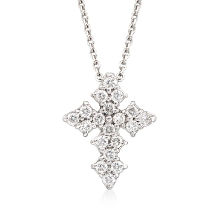 "Roberto Coin .16 Carat Total Weight Diamond Cross Necklace in 18-Karat White Gold. 16"", , default"