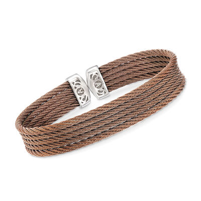 "ALOR ""Classique"" Bronze Multi-Strand Stainless Steel Cable Cuff, , default"