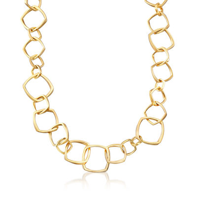 C. 1990 Vintage Tiffany Jewelry Geometric Link Necklace in 18kt Yellow Gold, , default