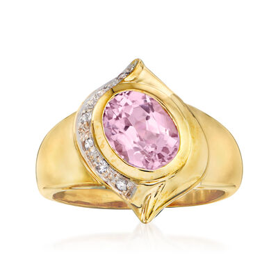 C. 1980 Vintage 2.40 Carat Kunzite and .12 ct. t.w. White Sapphire Ring in 10kt Yellow Gold