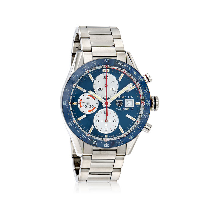 TAG Heuer Carrera 41mm Men's Auto Chronograph Stainless Steel Watch - Blue Dial, , default
