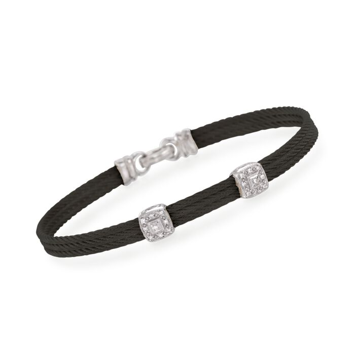 "ALOR ""Classique"" Black Stainless Steel Cable Double-Station Bracelet with Diamonds and 18kt White Gold, , default"