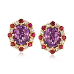 C. 1980 Vintage 8.60 ct. t.w. Amethyst and 2.40 ct. t.w. Ruby Earrings With Diamonds in 14kt Yellow Gold, , default
