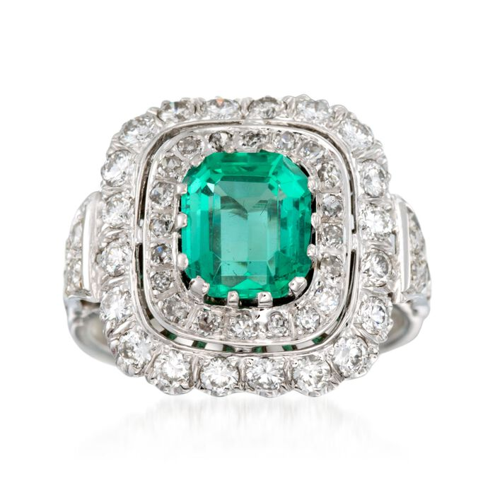 C. 1980 Vintage 1.90 Carat Emerald and 1.25 ct. t.w. Diamond Ring in 14kt White Gold. Size 7.5, , default