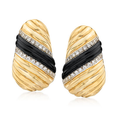 C. 1980 Vintage Black Onyx and 1.00 ct. t.w. Diamond Earrings in 14kt Yellow Gold
