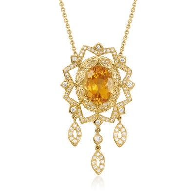 C. 2000 Vintage 8.00 Carat Citrine and 1.60 ct. t.w. Diamond Drop Pendant Necklace in 18kt Yellow Gold