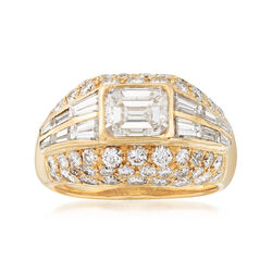 C. 1990 Vintage 3.83 ct. t.w. Diamond Dome Ring in 18kt Yellow Gold, , default