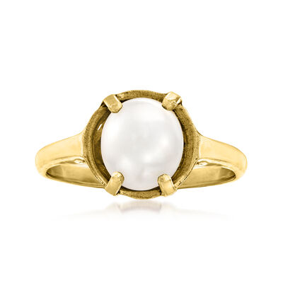 C. 1980 Vintage 8x8.5mm Cultured Pearl Ring in 14kt Yellow Gold