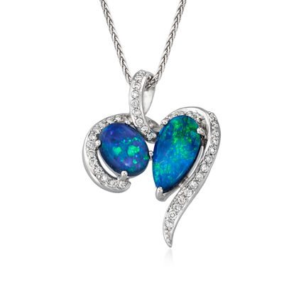 C. 1990 Vintage 1.17 ct. t.w. Black Opal and .15 ct. t.w. Diamond Pendant Necklace in 18kt White Gold