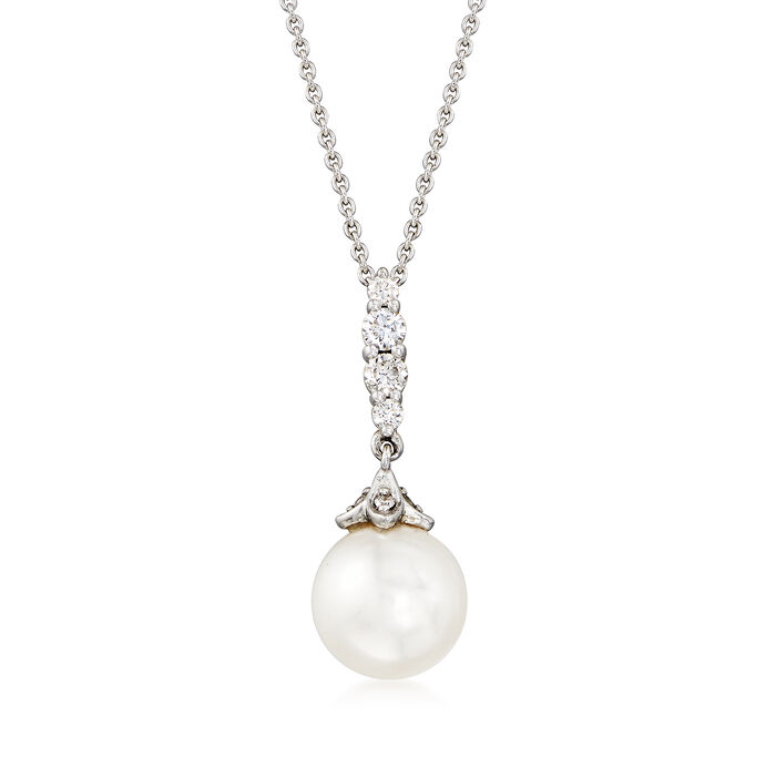 Gabriel Designs Cultured Pearl and .17 ct. t.w. Diamond Pendant Necklace in 14kt White Gold