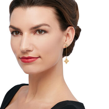 "Roberto Coin ""Princess"" Diamond-Accented Flower Drop Earrings in 18kt Yellow Gold, , default"