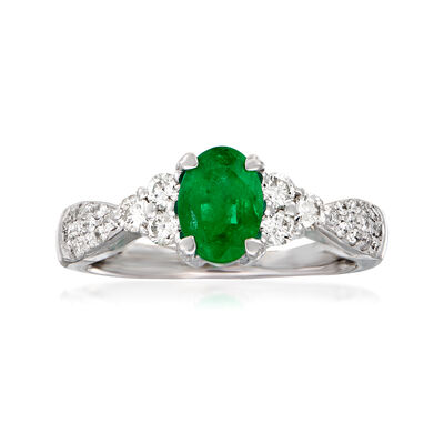 C. 1980 Vintage .85 Carat Emerald and .55 ct. t.w. Diamond Ring in 14kt White Gold, , default