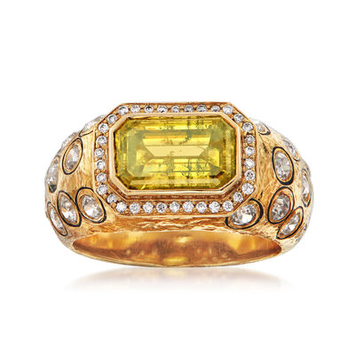 C. 1980 Vintage 4.16 ct. t.w. Yellow and White Diamond Cocktail Ring in 18kt Yellow Gold, , default