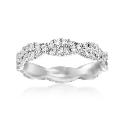 Henri Daussi .70 ct. t.w. Diamond Twisted Eternity Band in 18kt White Gold, , default