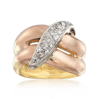 C. 1980 Vintage .25 ct. t.w. Diamond Crossover Ring in 18kt Yellow Gold, , default