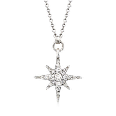 Gabriel Designs .25 ct. t.w. Diamond Starburst Necklace in 14kt White Gold, , default