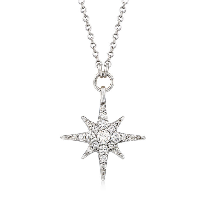 "Gabriel Designs .25 ct. t.w. Diamond Starburst Necklace in 14kt White Gold. 15.5"", , default"