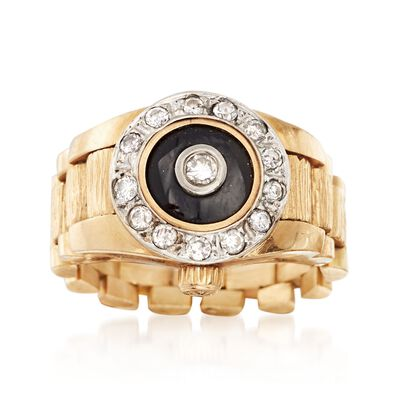 C. 1980 Vintage Black Onyx and .45 ct. t.w. Diamond Ring in 14kt Yellow Gold, , default
