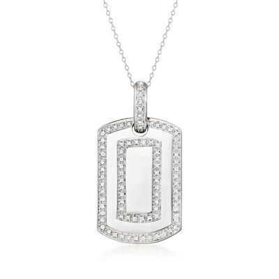 C. 1990 Vintage 1.00 ct. t.w. Diamond Dog Tag Pendant Necklace in 14kt White Gold