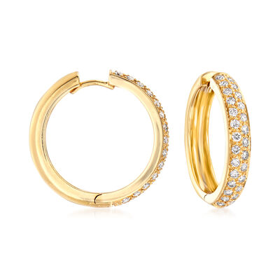 C. 1990 Vintage 1.25 ct. t.w. Diamond Hoop Earrings in 18kt Yellow Gold, , default