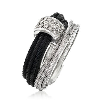"""ALOR """"Classique"""" .16 ct. t.w. Diamond Two-Tone Stainless Steel Cable Ring with 18kt White Gold. Size 7"""