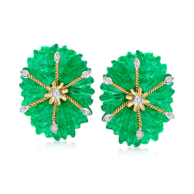 C. 1990 Vintage 28.00 ct. t.w. Aventurine and .13 ct. t.w. Diamond Earrings in 14kt Yellow Gold