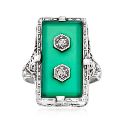 C. 1940 Vintage Green Glass Ring with Diamond Accents in 14kt White Gold