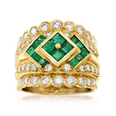 C. 1980 Vintage 1.30 ct. t.w. Diamond and .55 ct. t.w. Emerald Ring in 18kt Yellow Gold