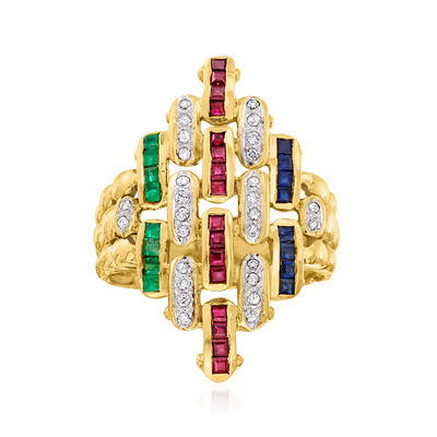 C. 1970 Vintage 1.50 ct. t.w. Multi-Gemstone and .25 ct. t.w. Diamond Fashion Ring in 18kt Yellow Gold