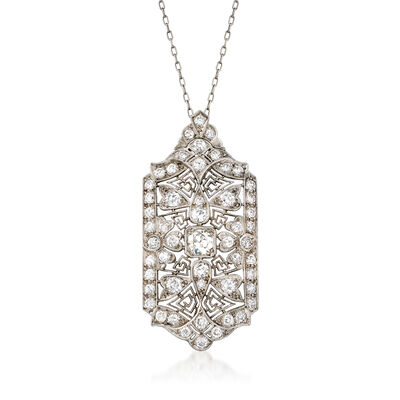 C. 1970 Vintage 2.50 ct. t.w. Diamond Filigree Pendant Necklace in Platinum