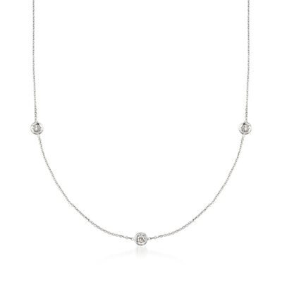 Roberto Coin .15 ct. t.w. Diamond Station Necklace in 18kt White Gold
