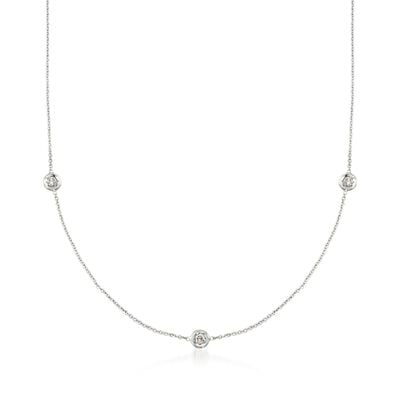 Roberto Coin .15 ct. t.w. Diamond Station Necklace in 18kt White Gold, , default