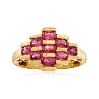C. 1990 Vintage 1.35 ct. t.w. Pink Tourmaline Checkerboard Ring in 14kt Yellow Gold