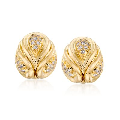 C. 1980 Vintage 1.45 ct. t.w. Diamond Clip-On Earrings in 18kt Yellow Gold, , default
