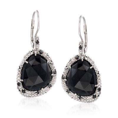 "Phillip Gavriel ""Popcorn"" Black Onyx and Black Spinel Drop Earrings in Sterling Silver, , default"