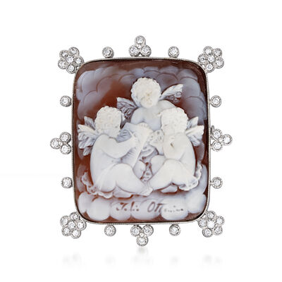 C. 2000 Vintage Pink Shell and .65 ct. t.w. Diamond Three-Cherub Cameo Pin/Pendant in 18kt White Gold