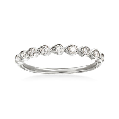 Henri Daussi .26 ct. t.w. Diamond Wedding Ring in 14kt White Gold