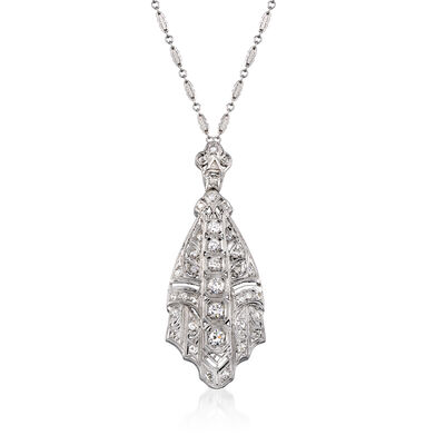 C. 1990 Vintage 1.65 ct. t.w. Diamond Pendant Necklace in Platinum and 14kt White Gold, , default