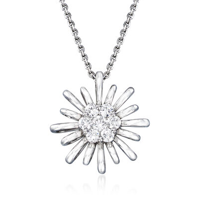 C. 1990 Vintage Giantti .30 ct. t.w. Diamond Flower Necklace in 18kt White Gold, , default