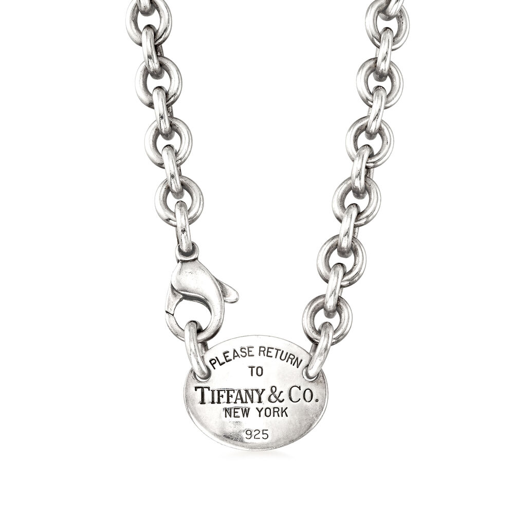 C 1990 Vintage Tiffany Jewelry Cable Link And Disc Necklace In Sterling Silver Sidney Thomas