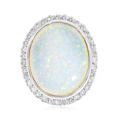 C. 1980 Vintage Opal and 2.45 ct. t.w. Diamond Ring in Platinum