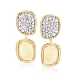 Roberto Coin 1.35 ct. t.w. Diamond Free-Form Drop Earrings in 18kt Yellow Gold, , default