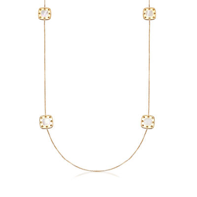 "Roberto Coin ""Pois Moi"" Mother-Of-Pearl Square Station Necklace in 18kt Yellow Gold, , default"
