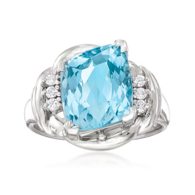 C. 1990 Vintage 3.61 Carat Aquamarine Ring in Platinum, , default
