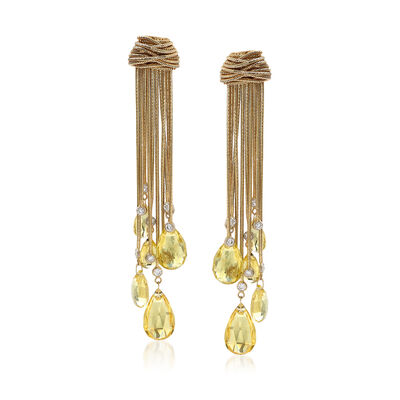 C. 1980 Vintage 20.00 ct. t.w. Yellow Beryl and .70 ct. t.w. Diamond Drop Earrings in 14kt Yellow Gold, , default