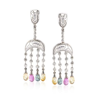 C. 2000 Vintage 18.50 ct. t.w. Multicolored Sapphire and Diamond Chandelier Earrings in 14kt Gold, , default